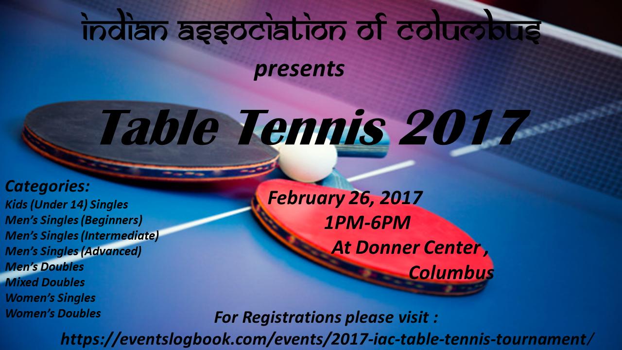 2017 Iac Table Tennis Tournament Events Logbook